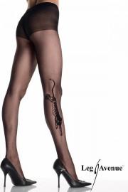 Leg Avenue 9314 Tiger Tattoo Sheer Pantyhose with Rhinestone Eyes