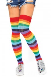 Leg Avenue 6606 Spandex Acrylic Rainbow Striped Thigh Highs
