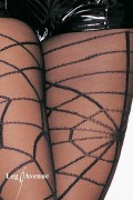 Leg Avenue 7502 Sheer Pantyhose with Opaque Woven Spiderweb