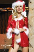 Leg Avenue 8095 3 PC. Mrs. Claus Crushed Velvet and Marabou Trimmed Robe