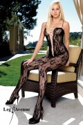 Leg Avenue 8468 Romantic Lace Bodystocking with Satin Ribbon Lace Up V Front