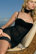 Leg Avenue 8027 Ruched Top Mesh Dress With G-String And Flower Choker