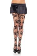 Leg Avenue 1301 Contrast Woven Floral Spandex Sheer Pantyhose