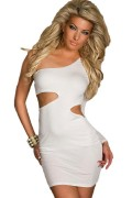 Dear-lover 2933 Sexy One-Arm-Minidress mit seitlichen Cutouts Black