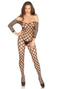 Leg Avenue 89195 Ring Net Off the Shoulder Bodystocking black, crotchless