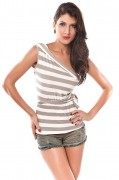 Dear-lover 25019 White And Grey Striped One Shoulder Top