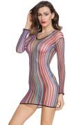 Dear-lover 22562 Fischnetz Streifen Minikleid Hemd in Regenbogenfarben