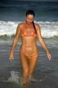 bikinini MG400-XS Micro G-String Mesh Bikini Top XS orange und rot