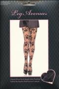 Leg Avenue 1301 Geblümte, durchsichtige Designer Strumpfhose in schwarz/grau