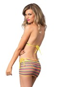 Leg Avenue 81444 3 PC. Net Rainbow Striped Bikini Top, Tanga & Mini Skirt Set