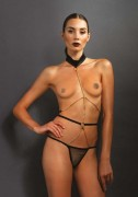 Kink by Leg Avenue KI4009 Halter Chain Cage Teddy with Mesh G-String Panty